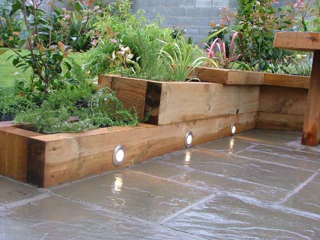 small garden lighting and raised beds Peter Donegan