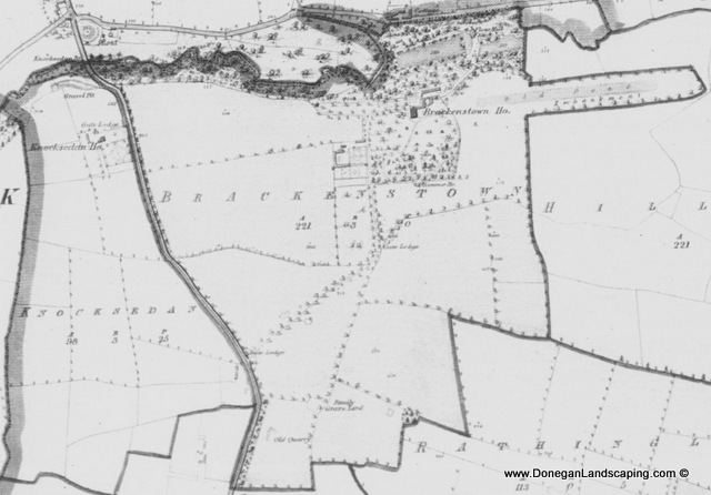 Second edition Ordnance Survey map of Brackdenston, dublin 1874