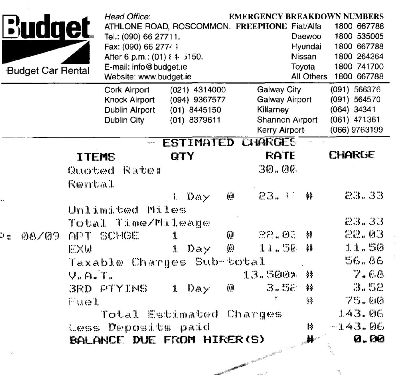 budget rental car hire bill