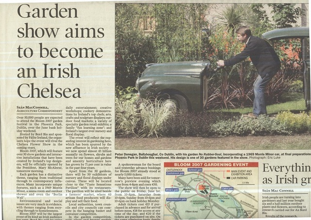 peter donegan landscaping, irish times, bloom garden