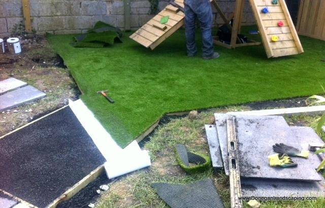 plastic grass laying